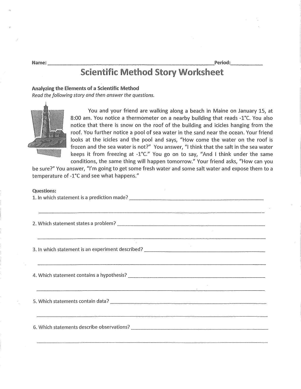 Scientific Method Story Worksheet