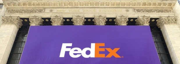FedEx   FedEx   Annual Reports FedEx flag hanging on front of New York Stock Exchange building