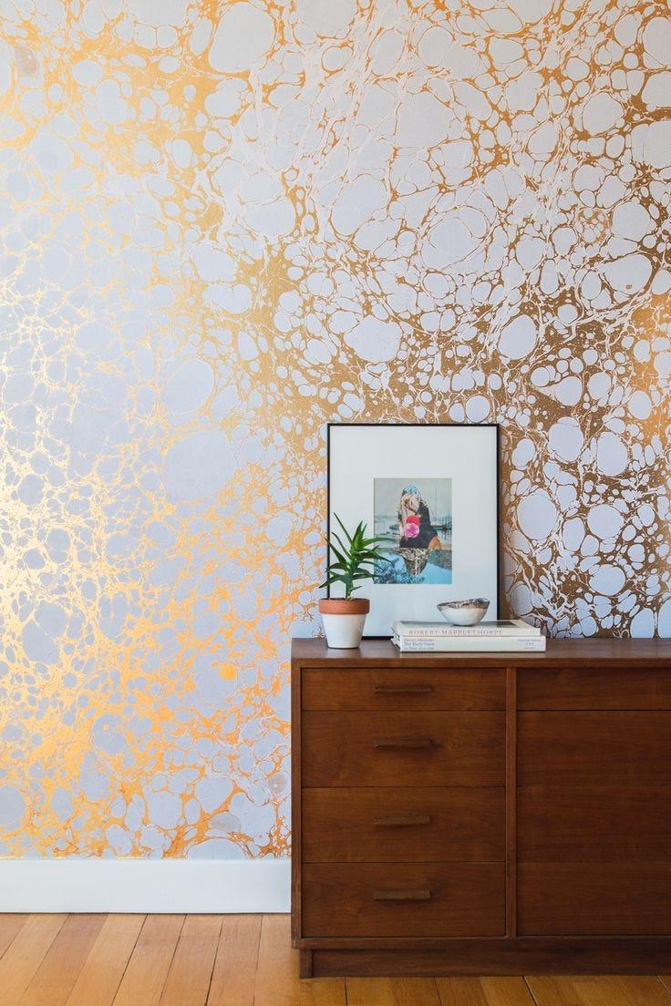 Metallic Accent Walls Gold Alcohol Ink Wall Design Dresser Indoor Plants Hardwood Floors