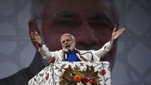 Prime Minister Narendra Modi addresses a rally in a cricket stadium in Srinagar, November 7, 2015. REUTERS/Danish Ismail