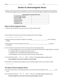 Electromagnetic Waves Student Worksheet Answer The Following