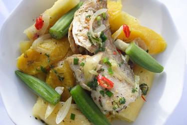 Steamed Fish with Land Provisions (Photo by Cynthia Nelson)
