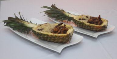 a teriyaki-prawn-pineapple boat