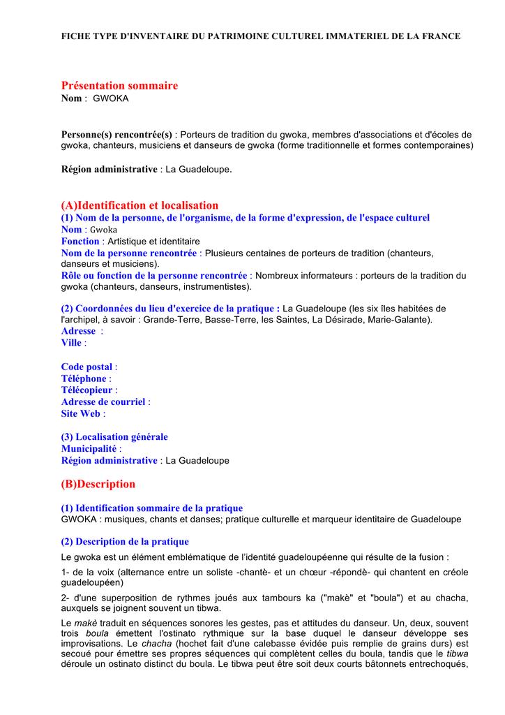 gwoka pdf ministere de la culture et