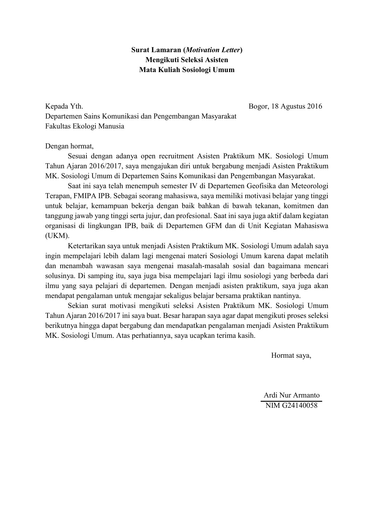 Contoh Motivation Letter Seleksi