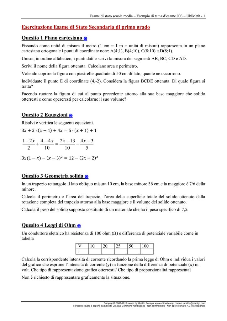 Esame Di Stato I Ciclo Tema 3 Con Soluzioni Ubimath 20165