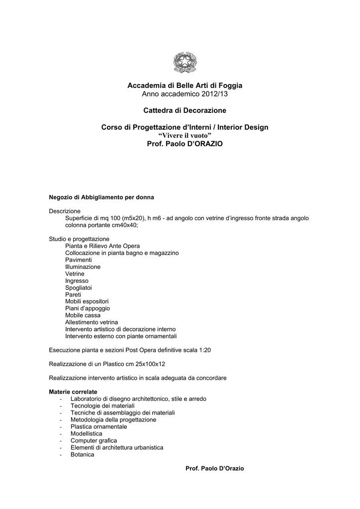 Diventare un consulente di arredo (corso executive). Decorazione Accademia Di Belle Arti