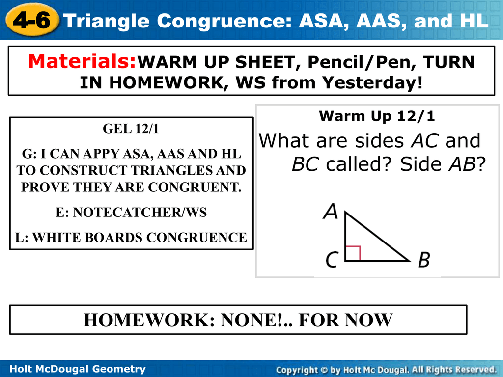 Triangle Congruence Asa Aas And Hl Worksheet Answers