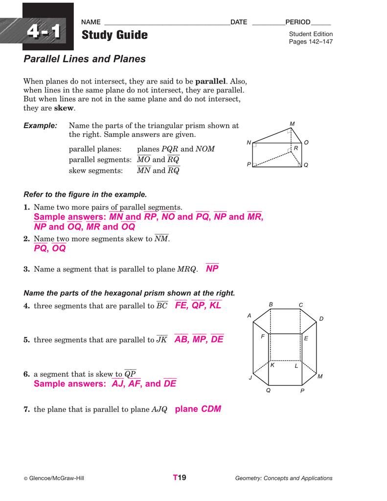3 4 Equ Ti S Of L Es W Ksheet Nswers Glencoe Geometry