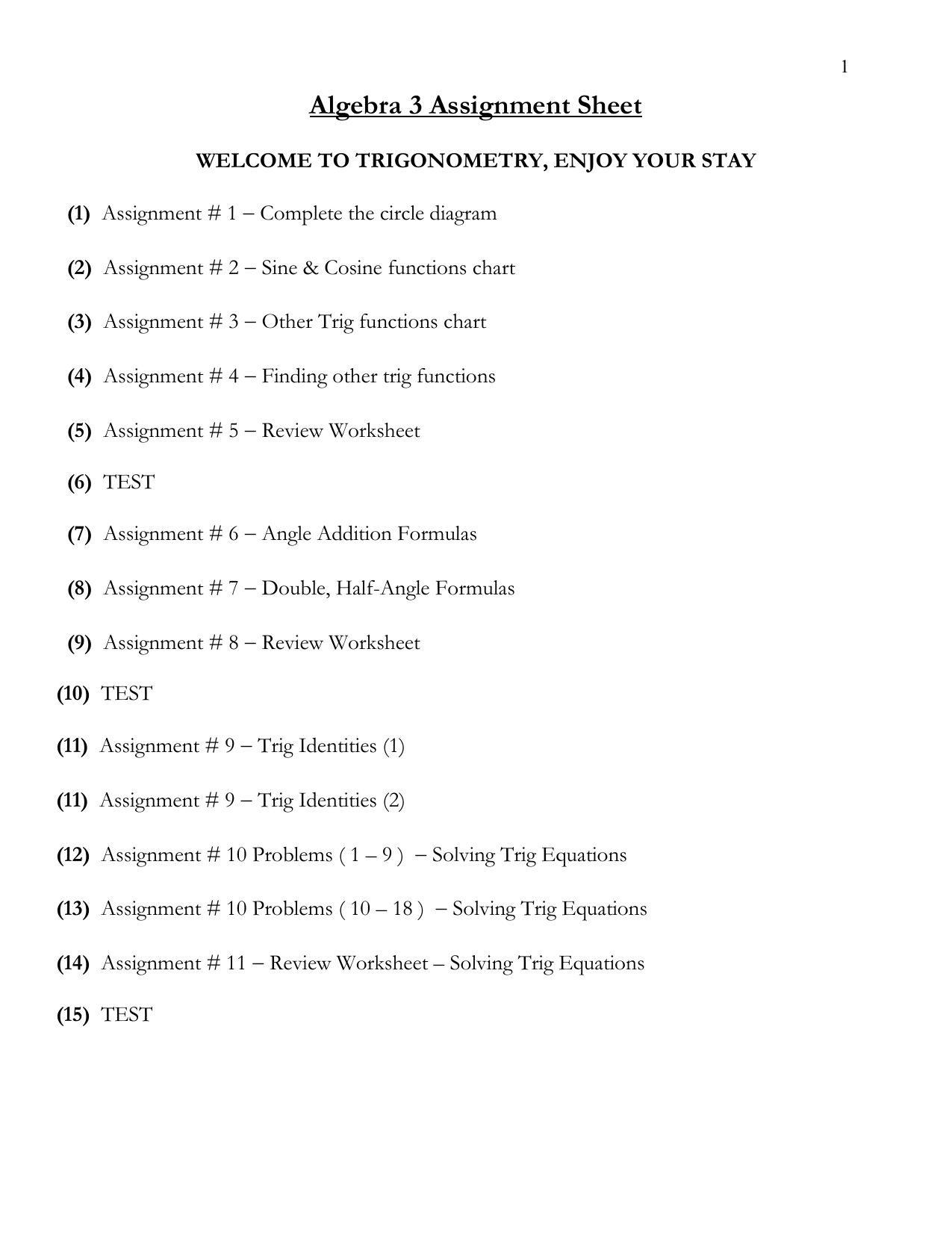 Solving First Degree Trigonometric Equations Worksheet