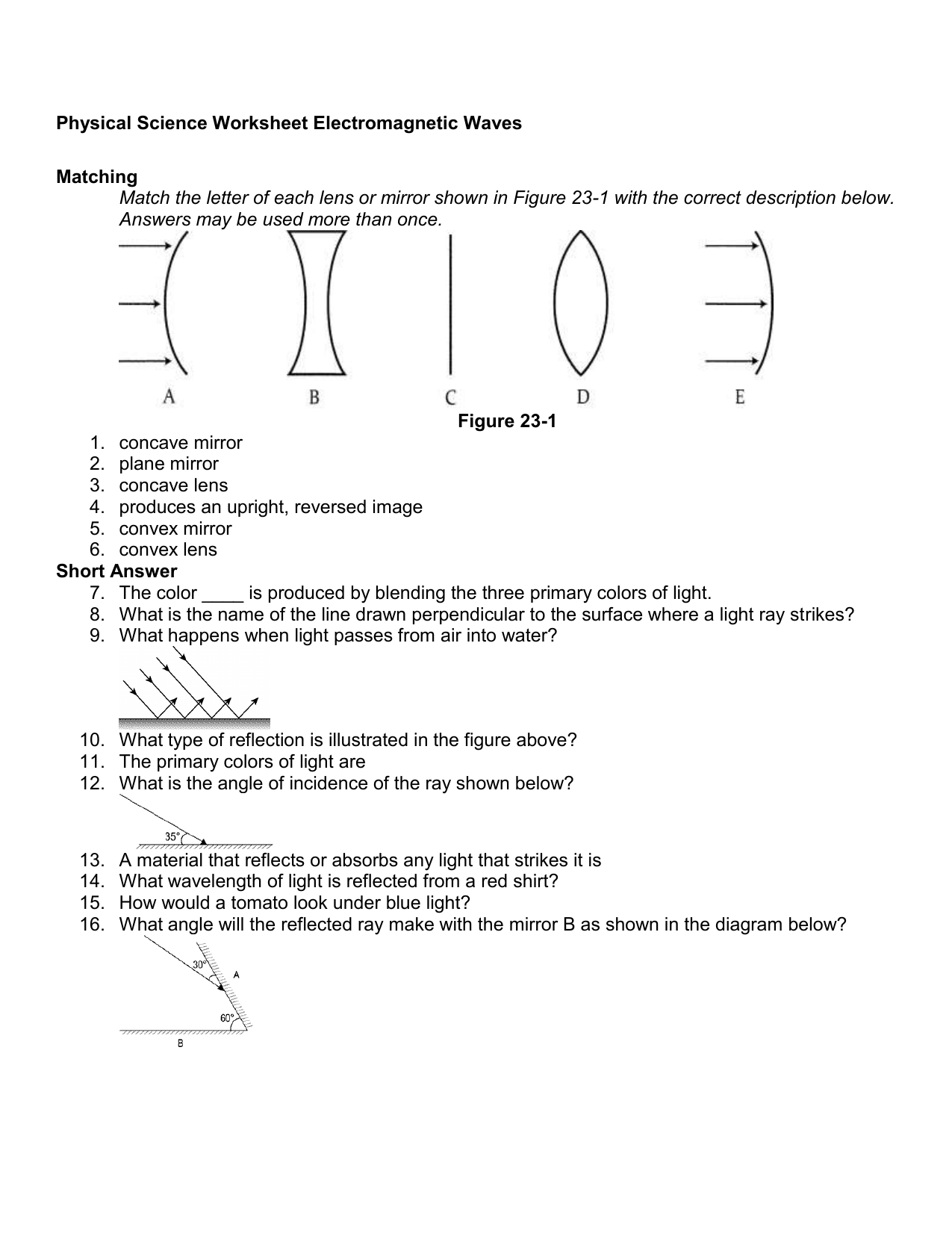 Light Reflection Mirror Worksheet