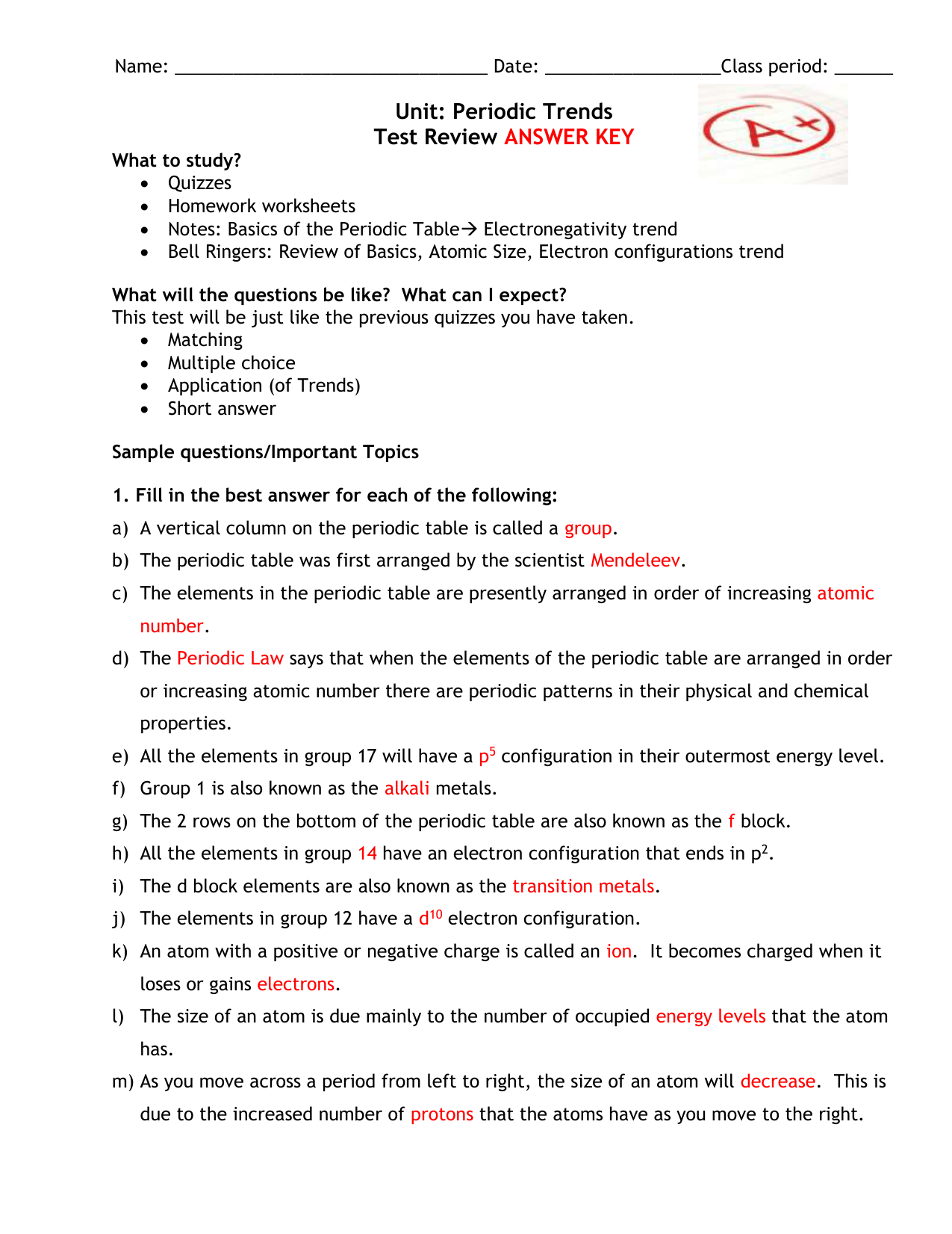 Periodic Table Notes Worksheet Answers