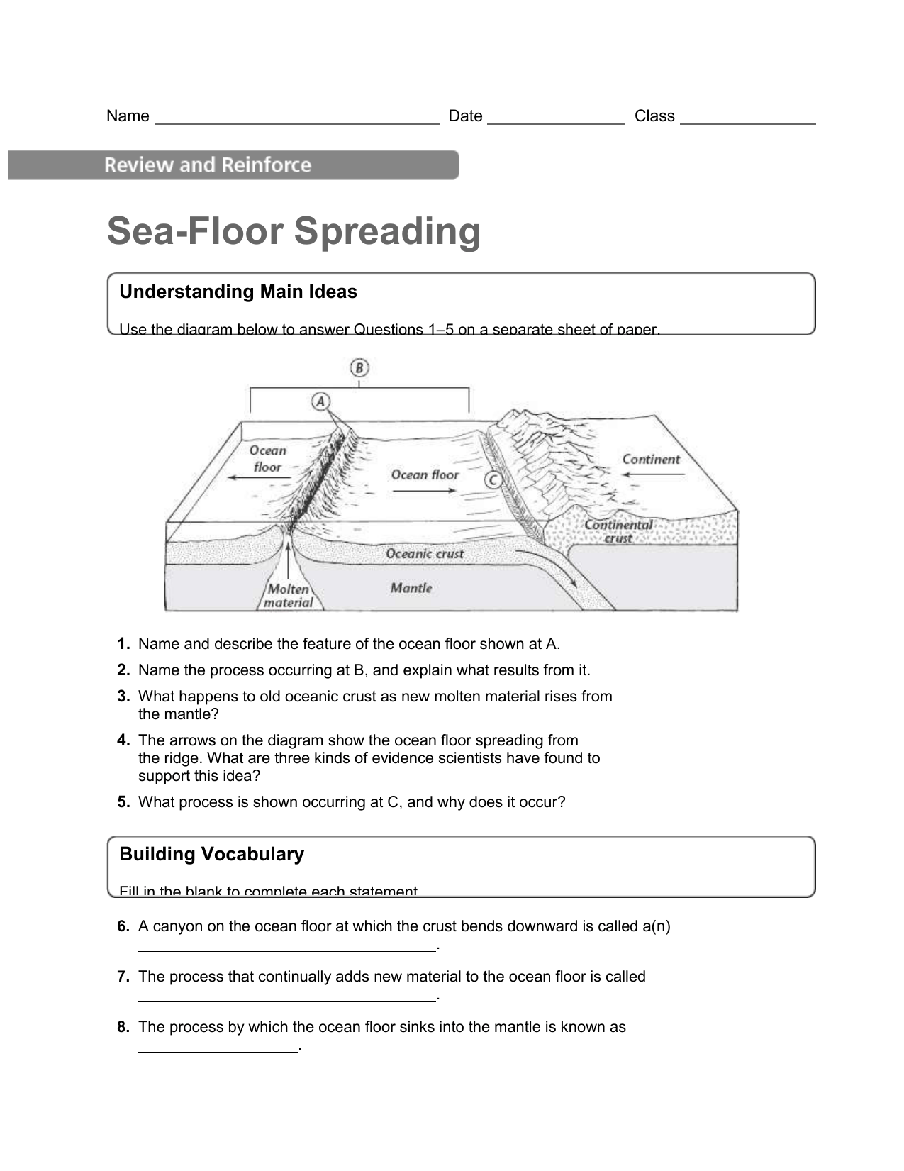 Sea Floor Spreading Worksheet Answer Key Pearson Education