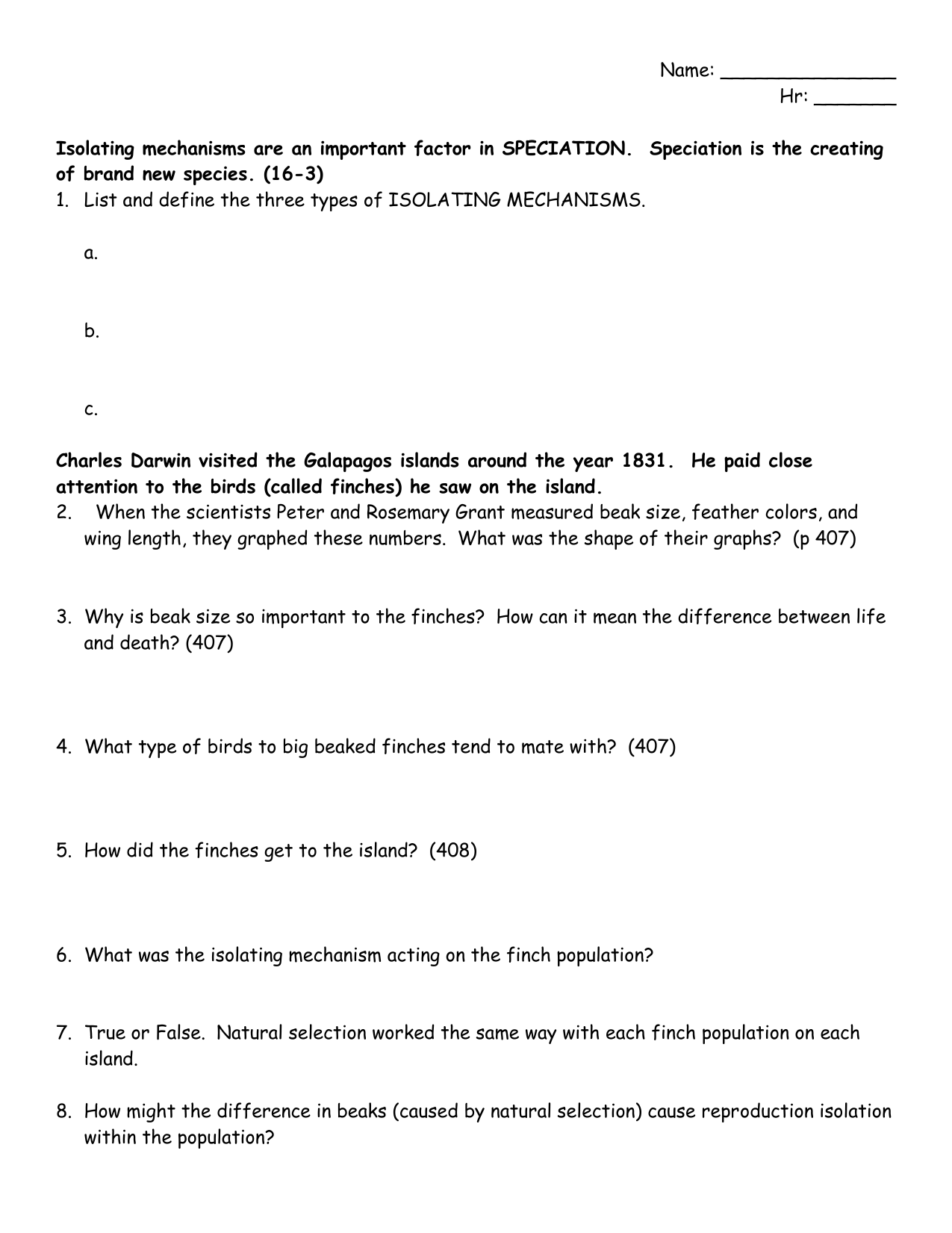 Mechanisms Of Natural Selection Worksheet Selection