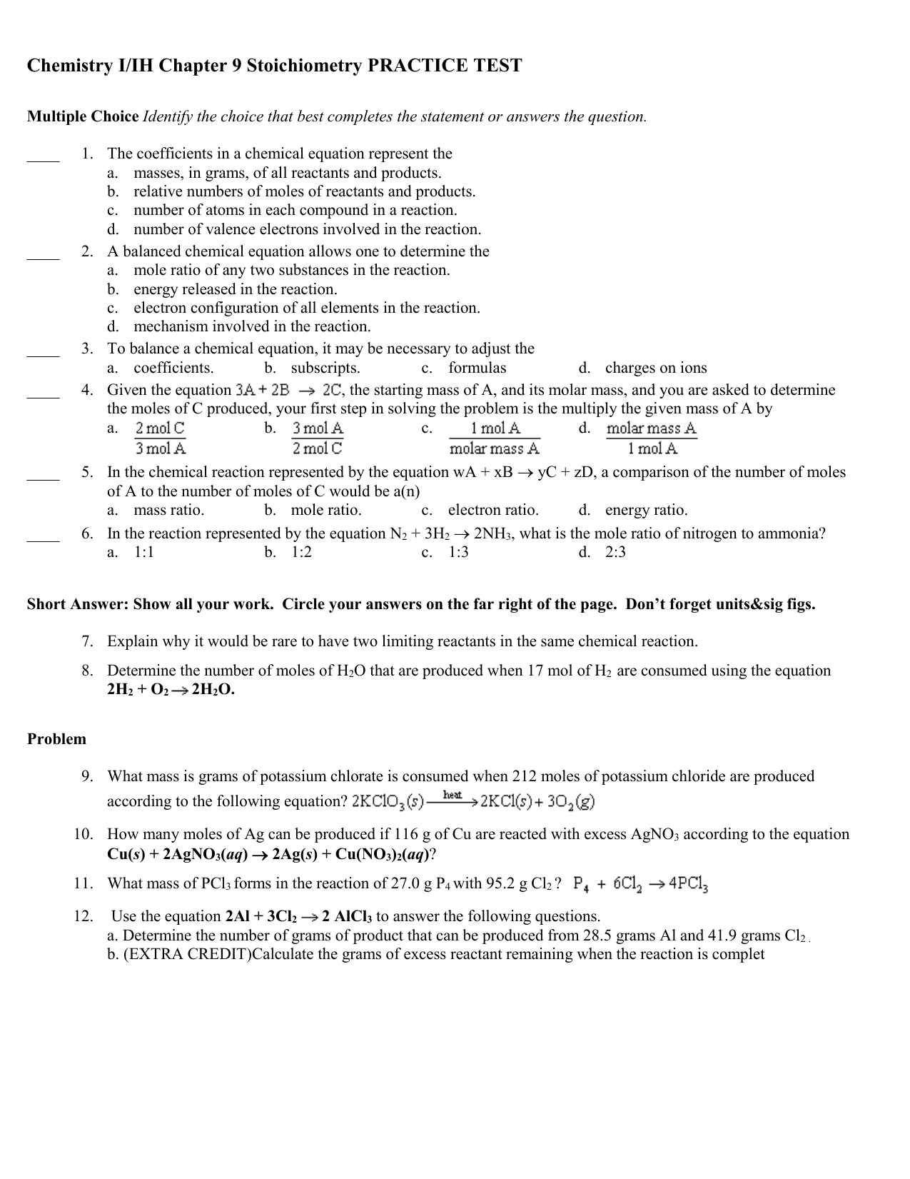 Bestseller Stoichiometry Practice Packet Answers