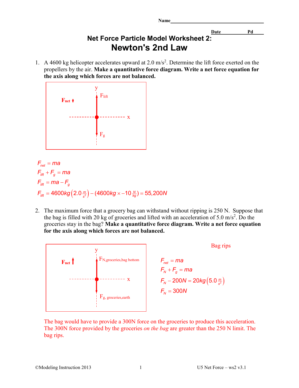 Net Force Particle Model Worksheet 2 Newton S 2nd Law Answers
