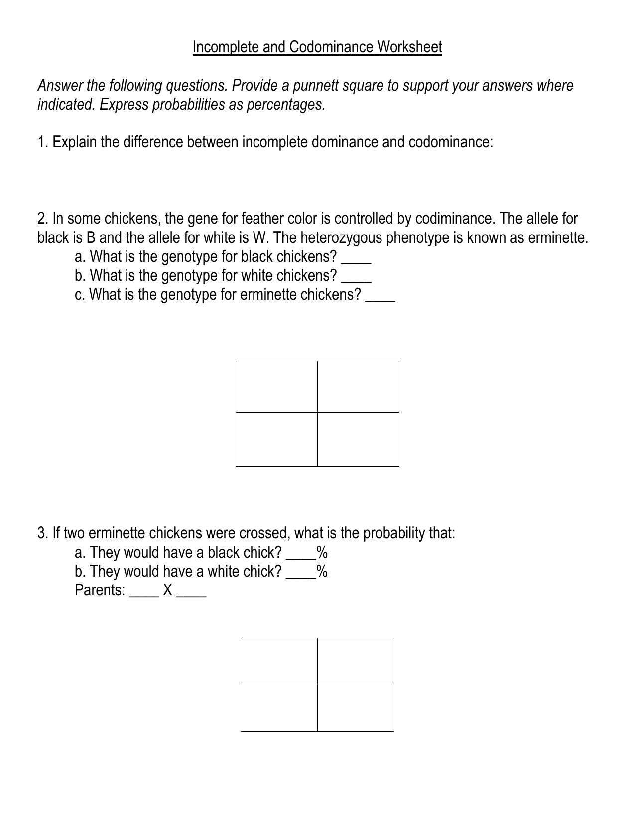 Incomplete And Codominance Worksheet Doc