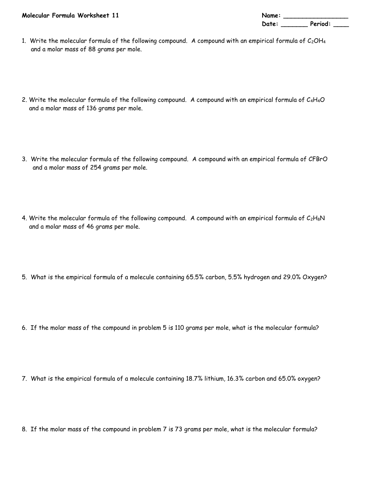 Molar Mass Calculations Worksheet