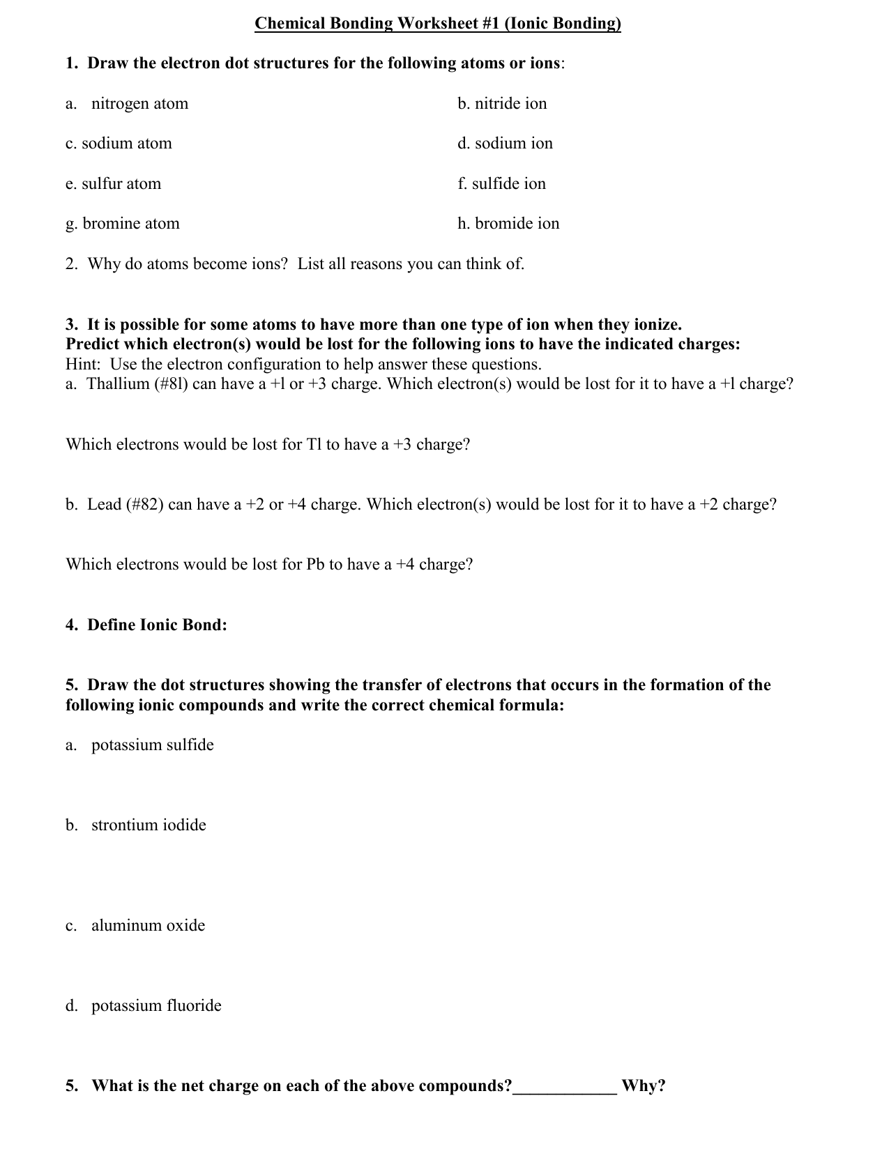 Overview Chemical Bonds Worksheet Answers
