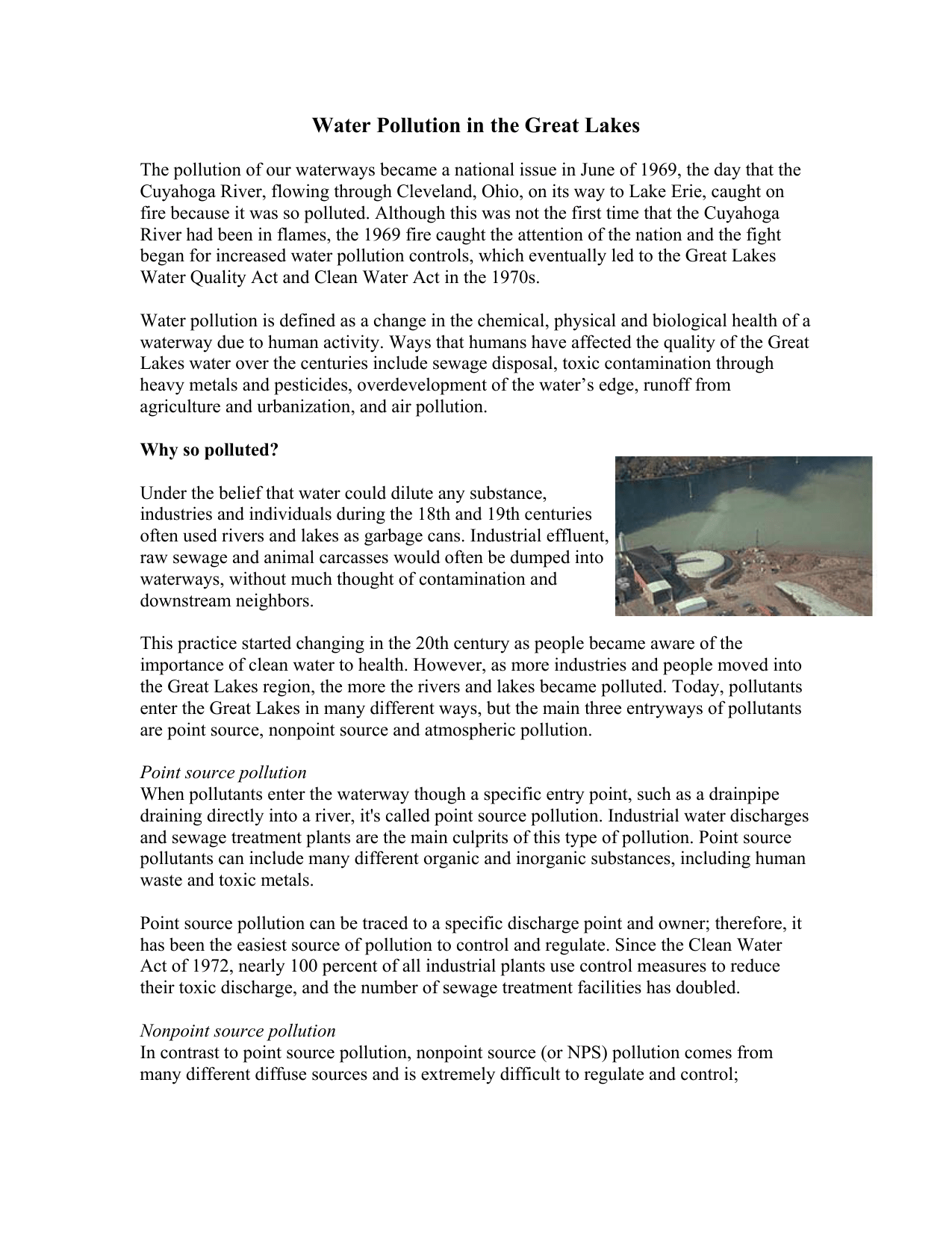 Point Source Pollution Definition