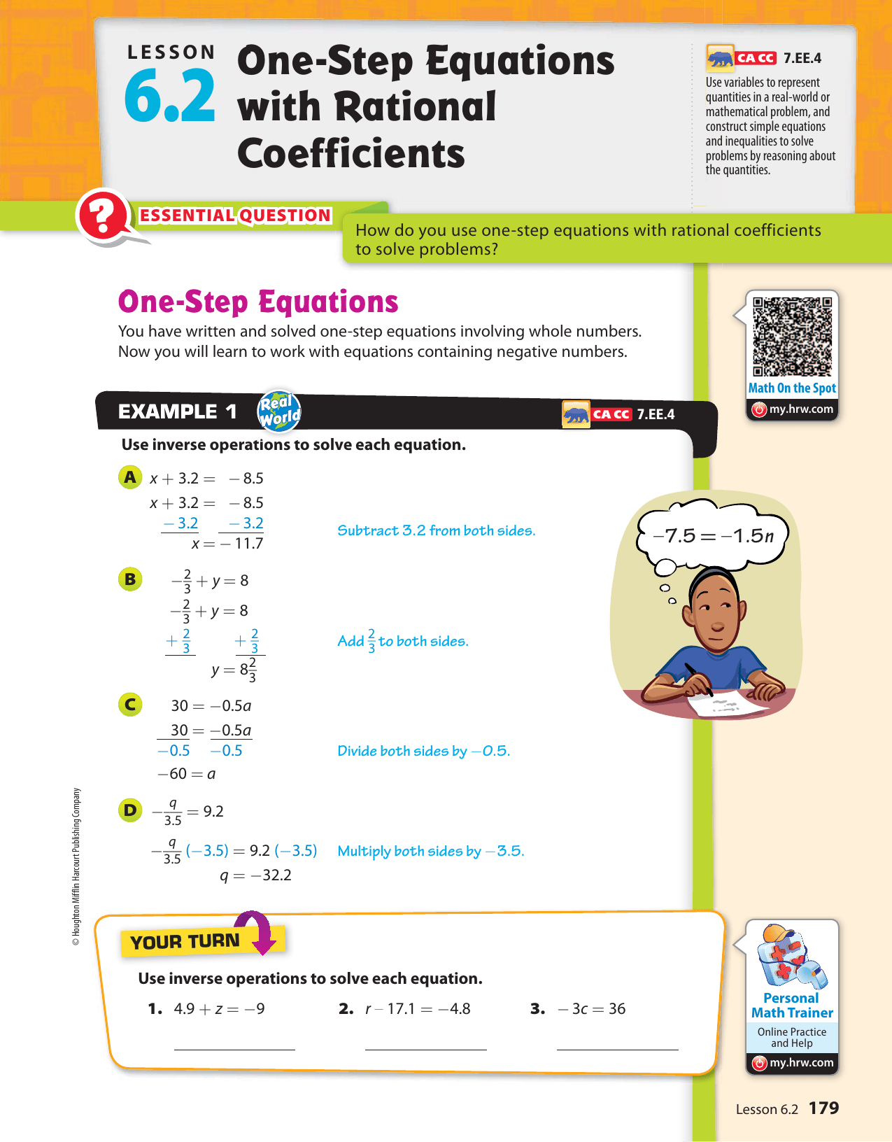 One Step Equations With Rational Coefficients Lesson 6 2