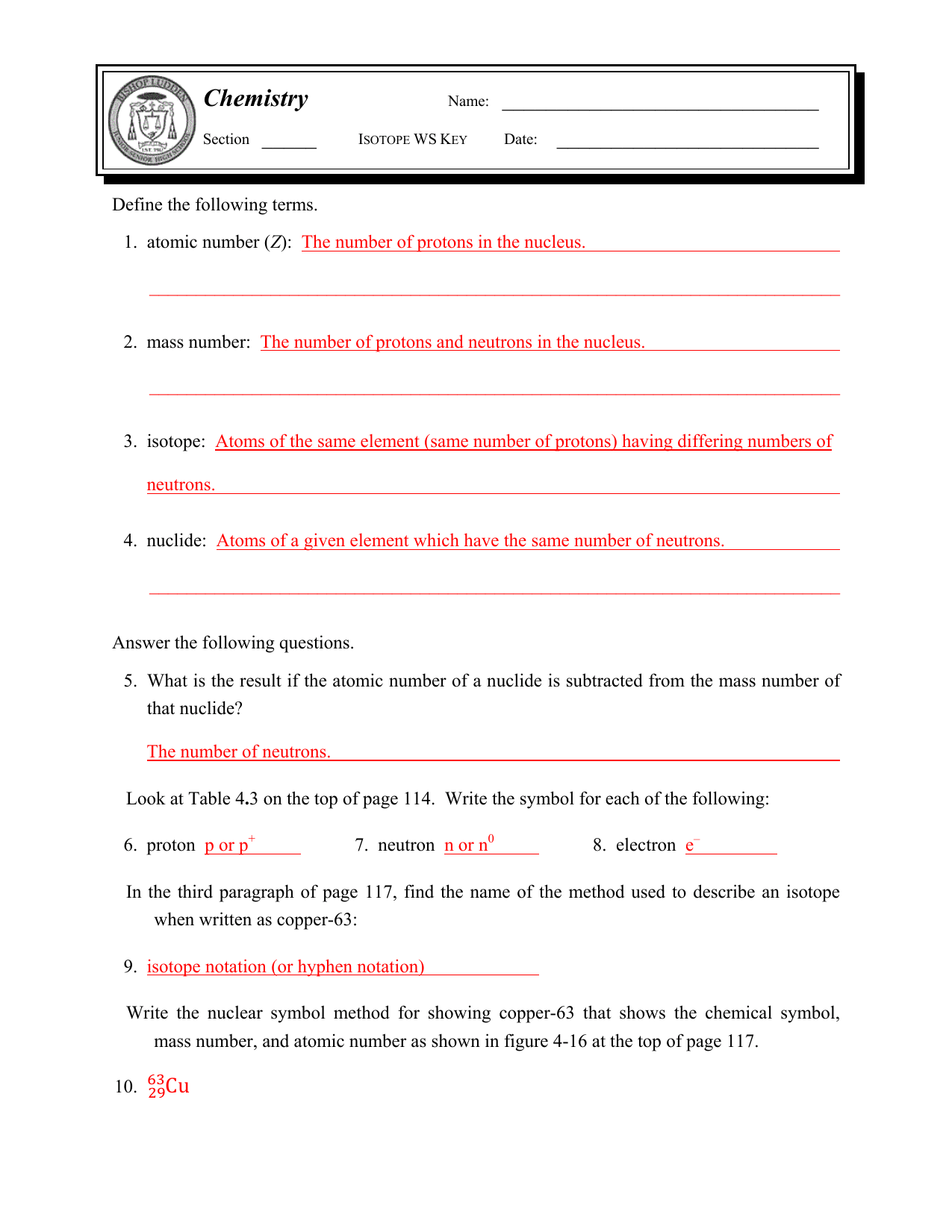 Bohr Model Practice Worksheet Answer Key