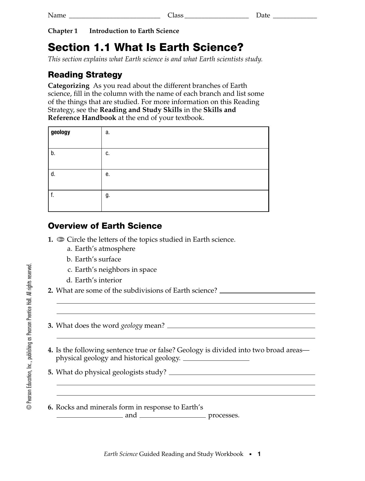 Pearson Education Earth Science Answer Key