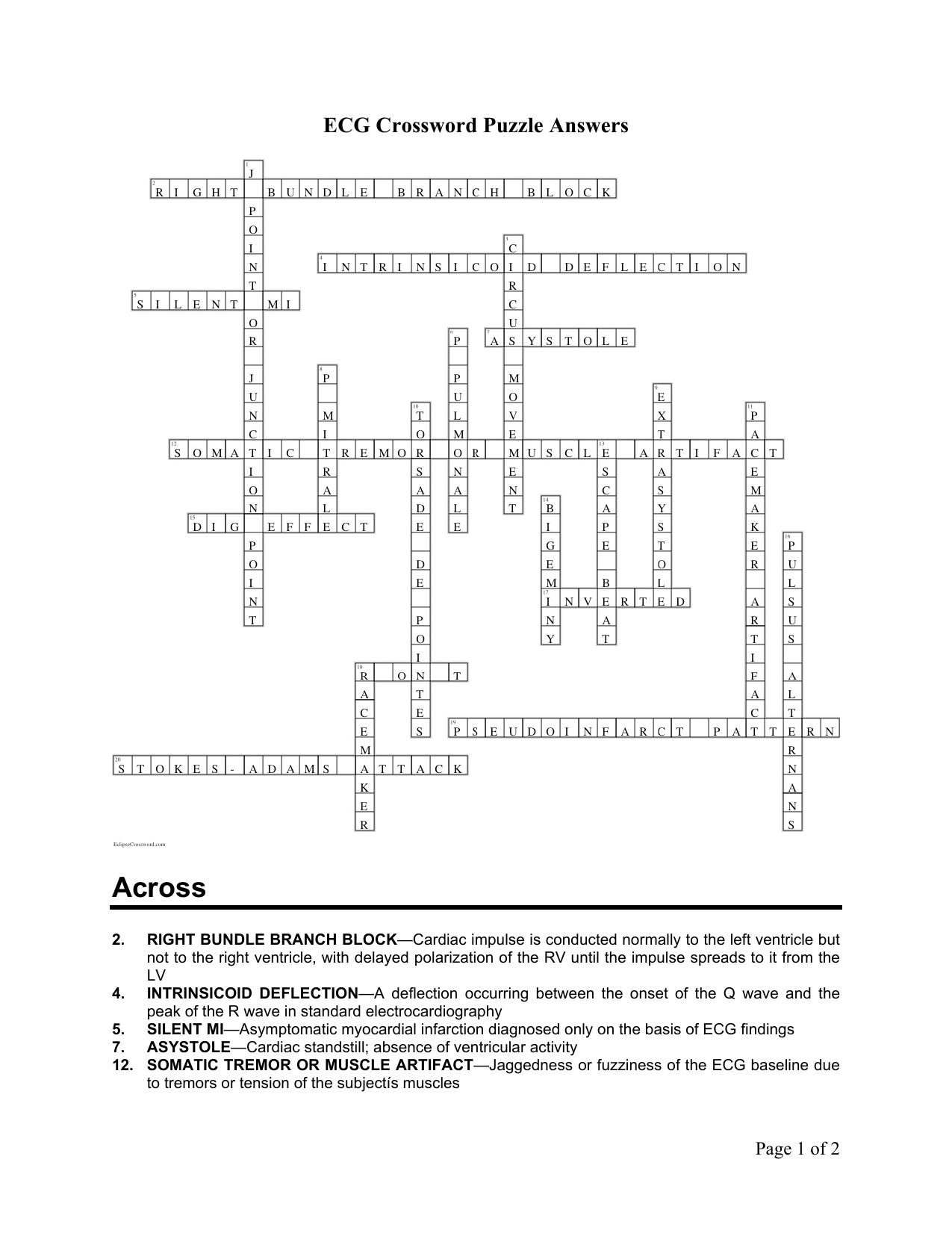 Heart Disease Crossword Puzzle Answers