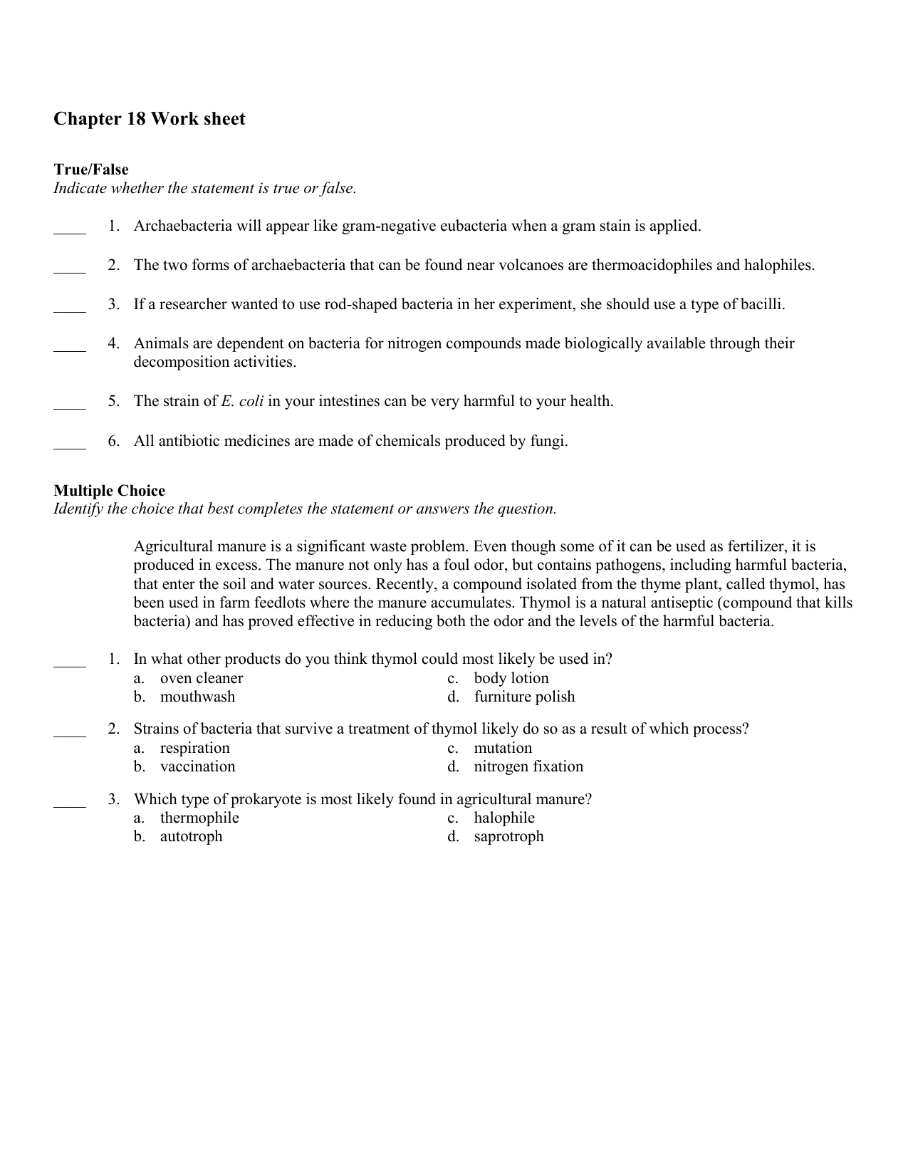 Chapter 18 Viruses And Bacteria Worksheet Answer Key