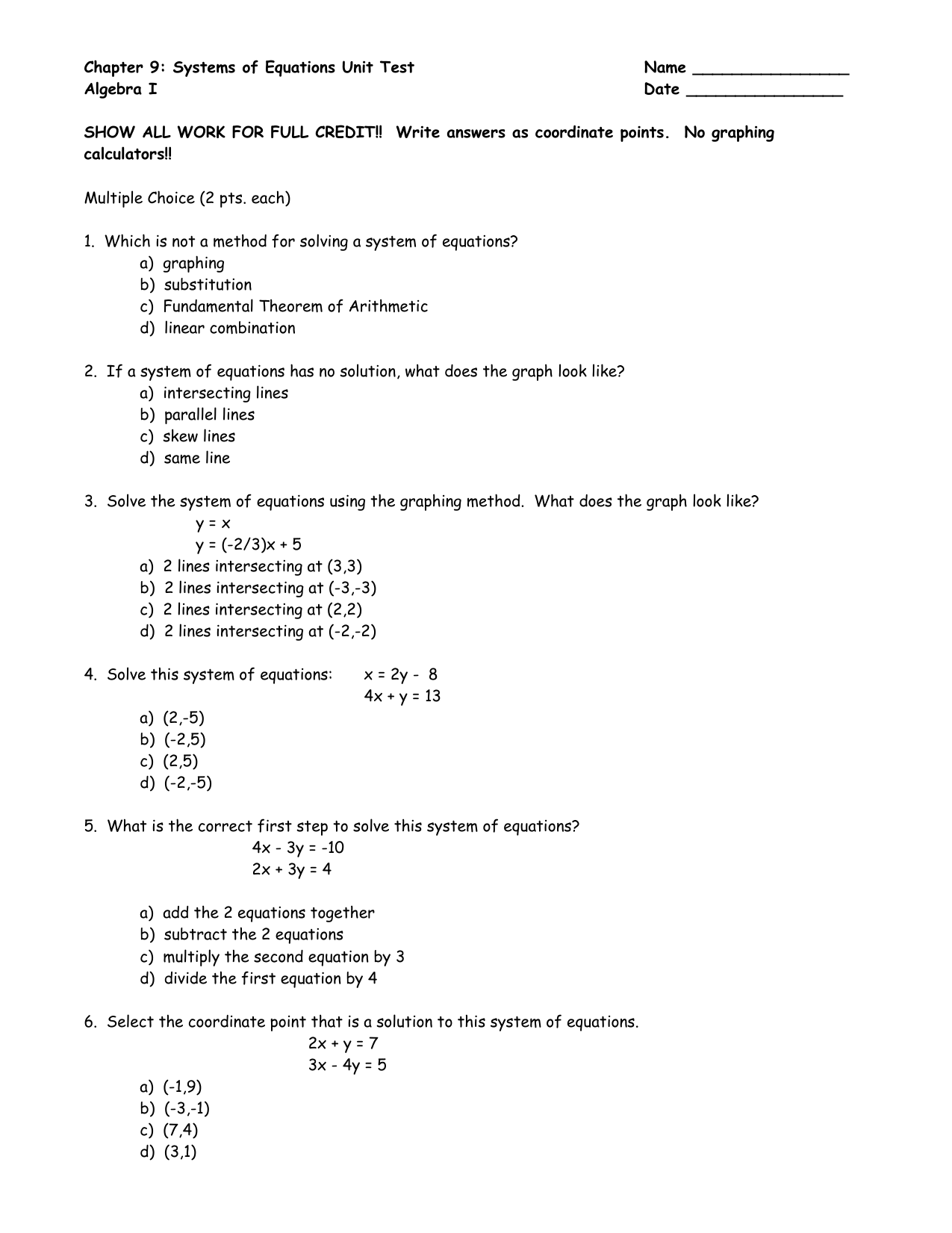 Linear Equations Unit Test Answers