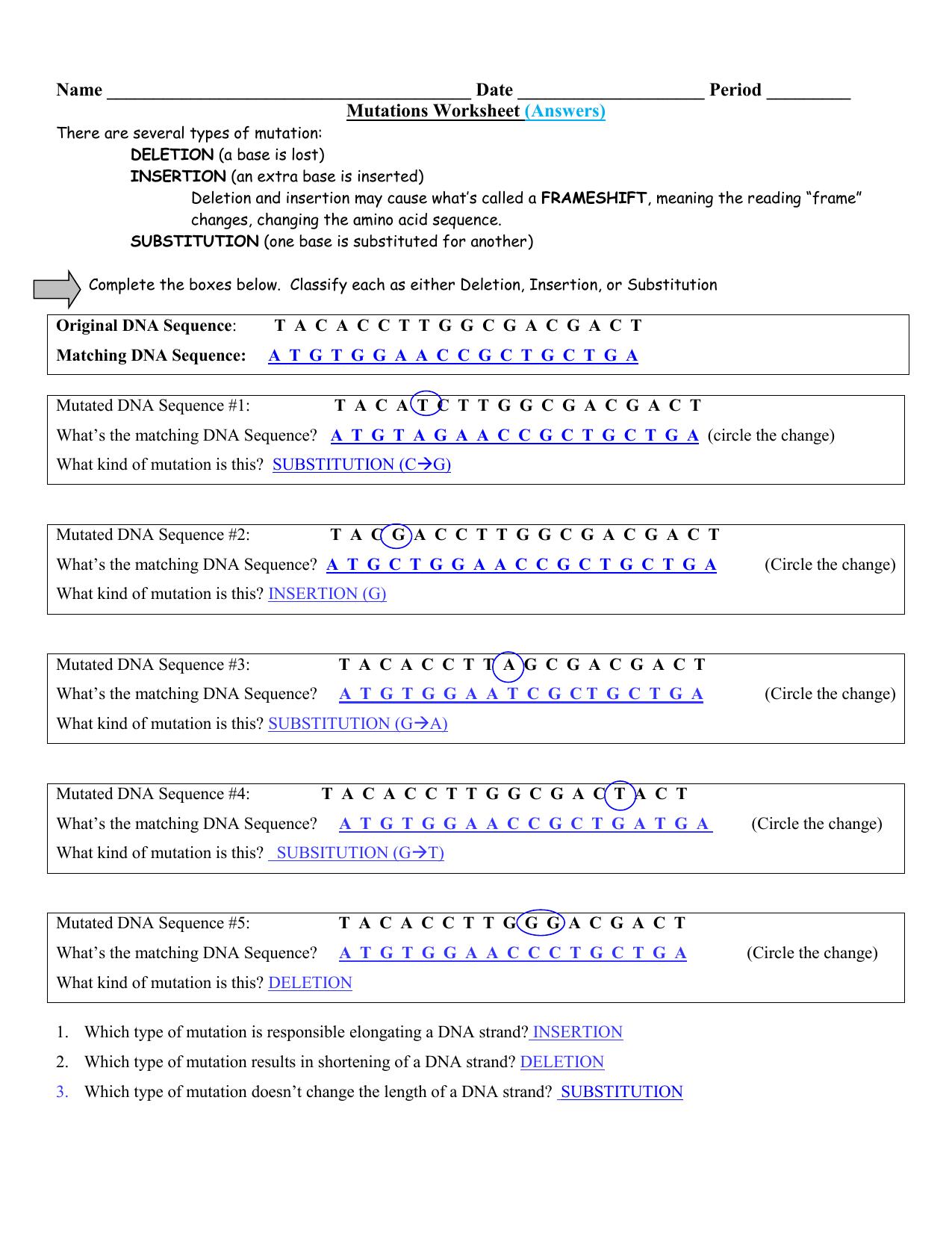 Worksheet Types Of Mutations Worksheet Grass Fedjp