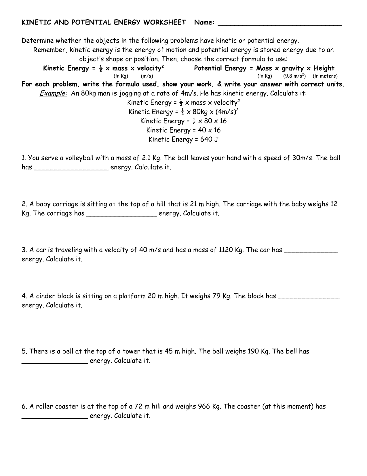Kinetic And Potential Energy Worksheet