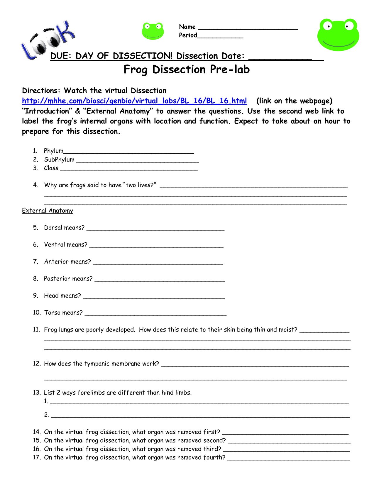 Biology Junction Frog Dissection Worksheet Answer Key