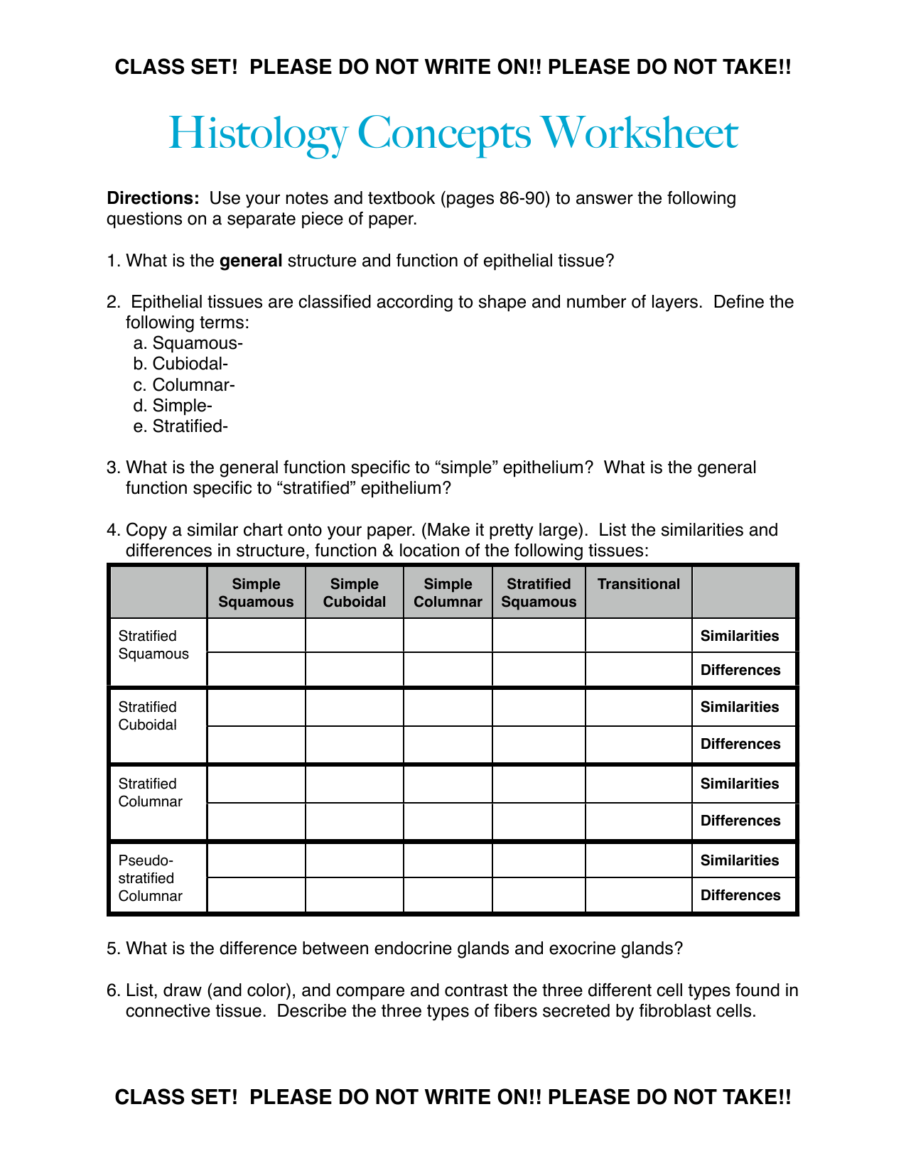 Types Of Tissues Worksheet