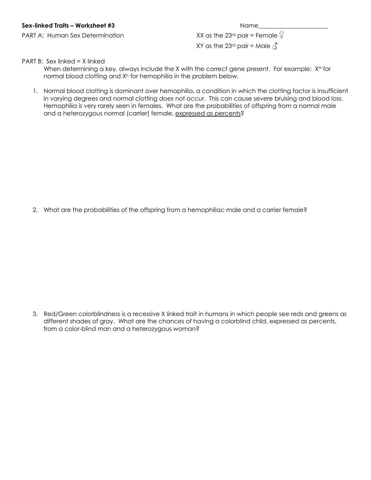 Linked Traits Worksheet With Answers