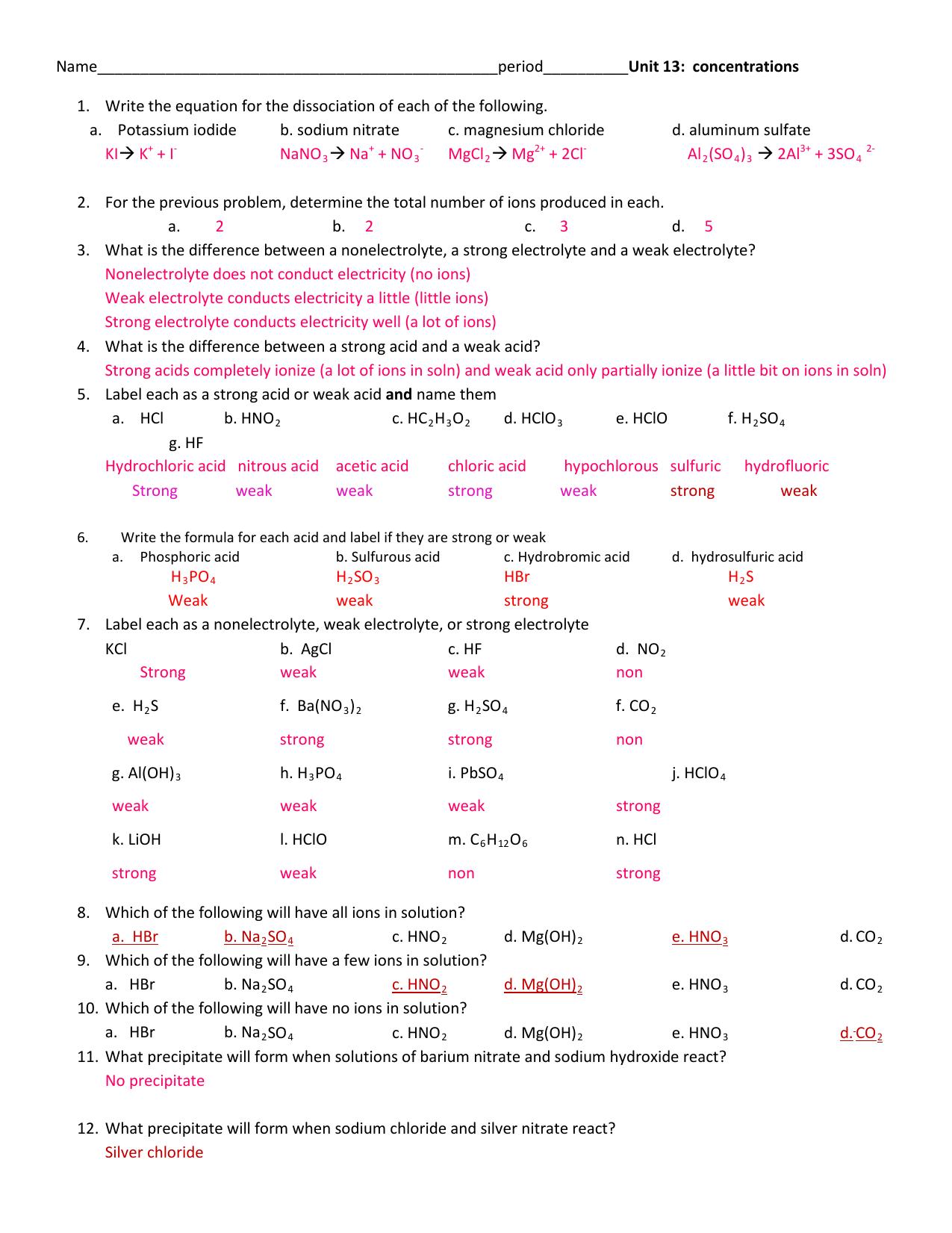 Electrolytes Worksheet Answers Tutore