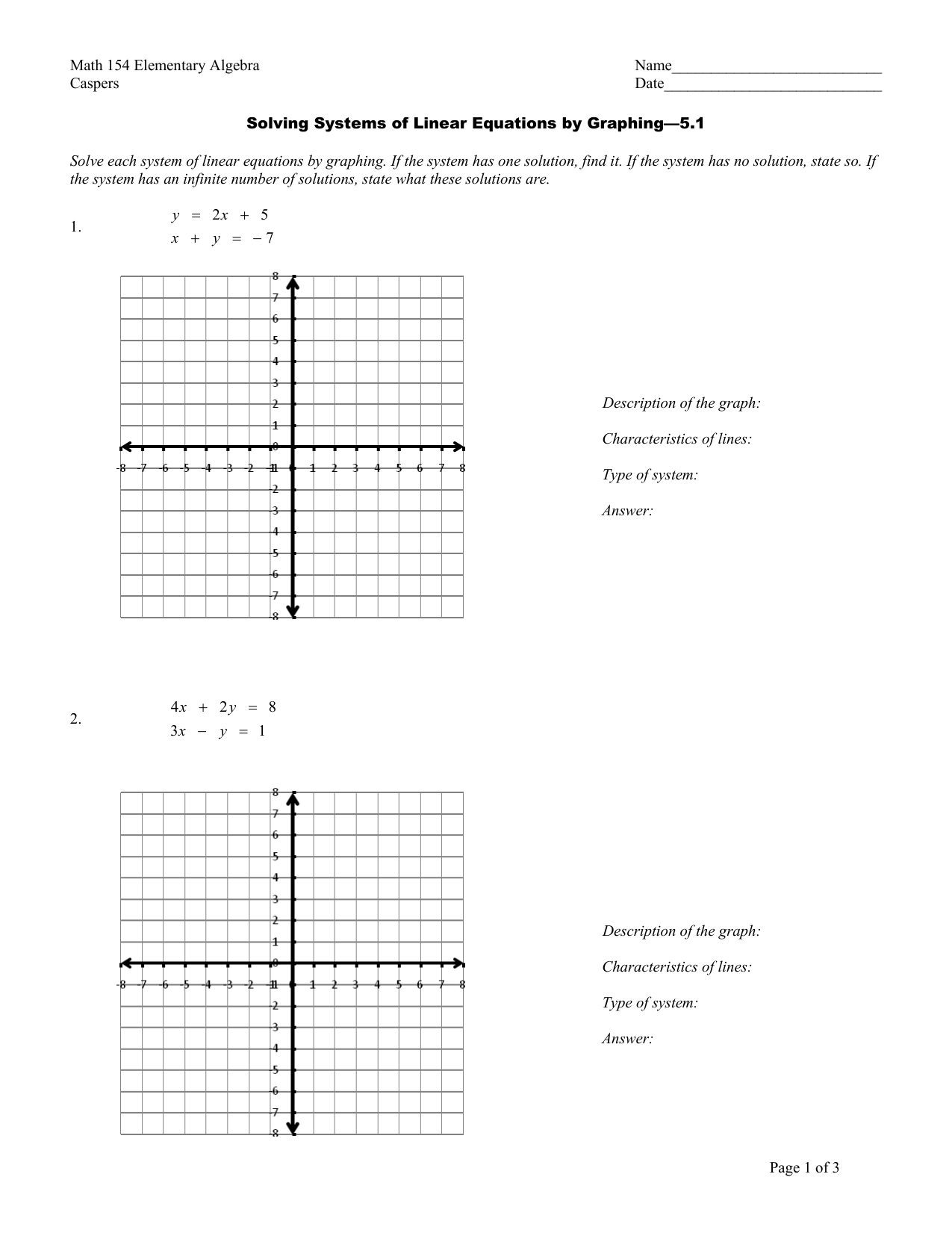 Lesson 7 Reteach Solve Systems Of Equations By Graphing
