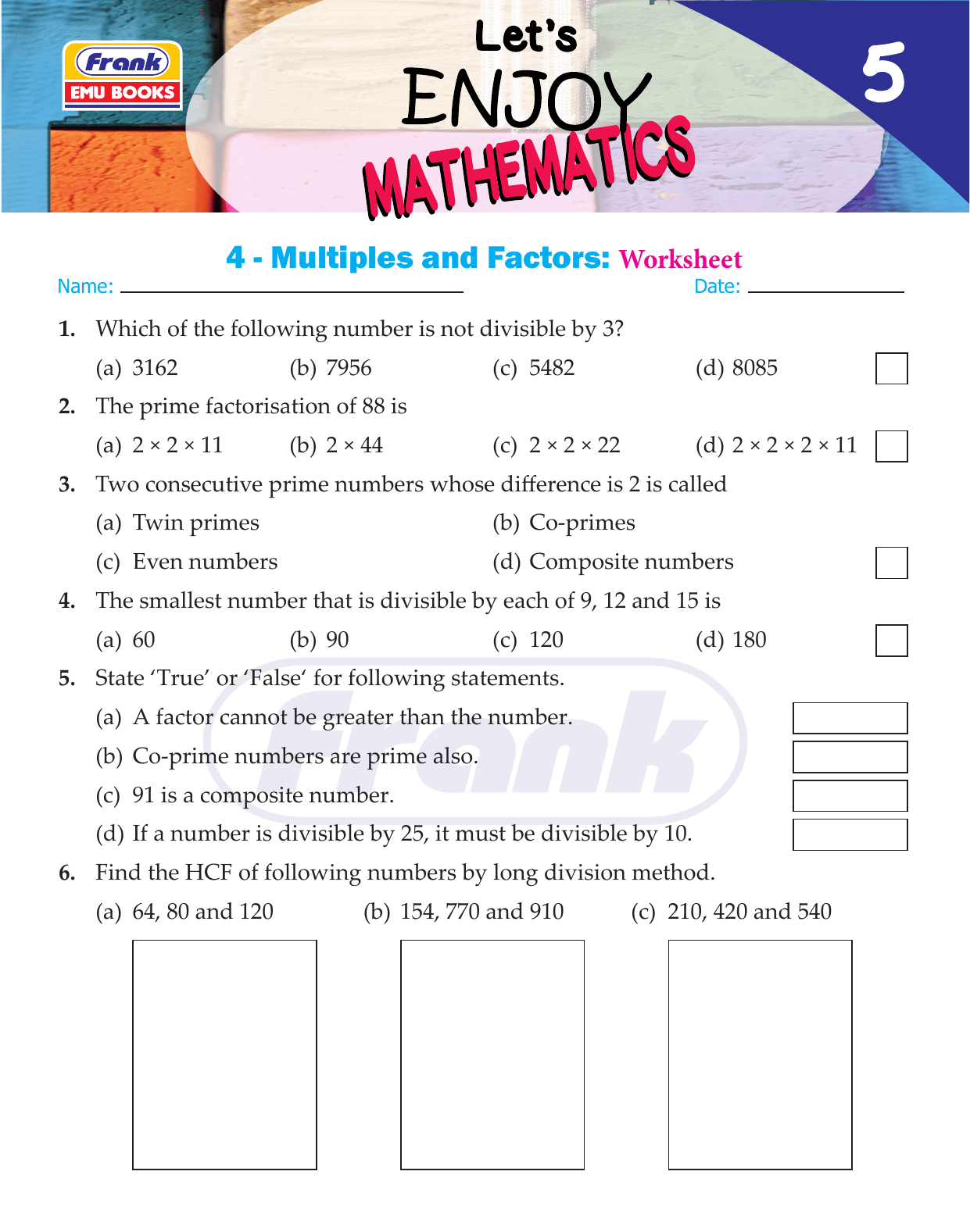 Hcf And Lcm Worksheets Grade 5