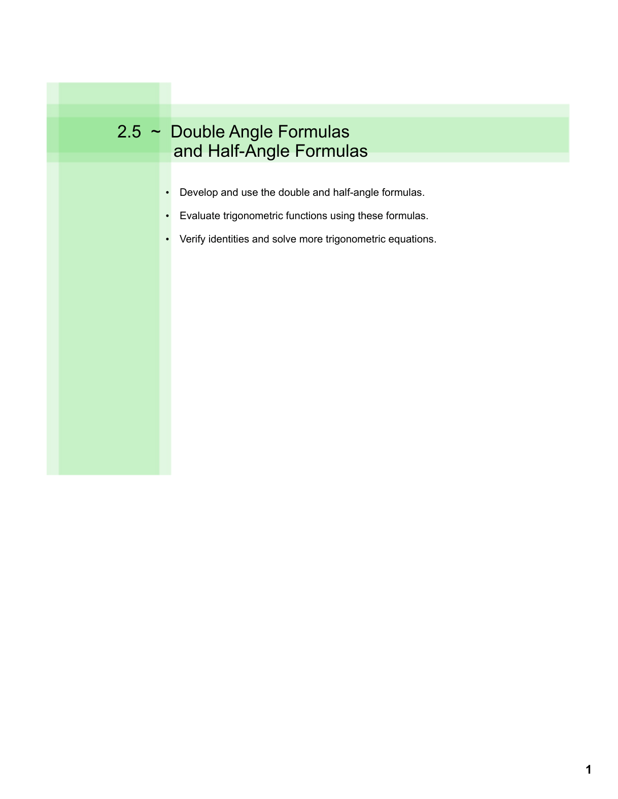 Solving Trig Equations Using Double Angle Formulas