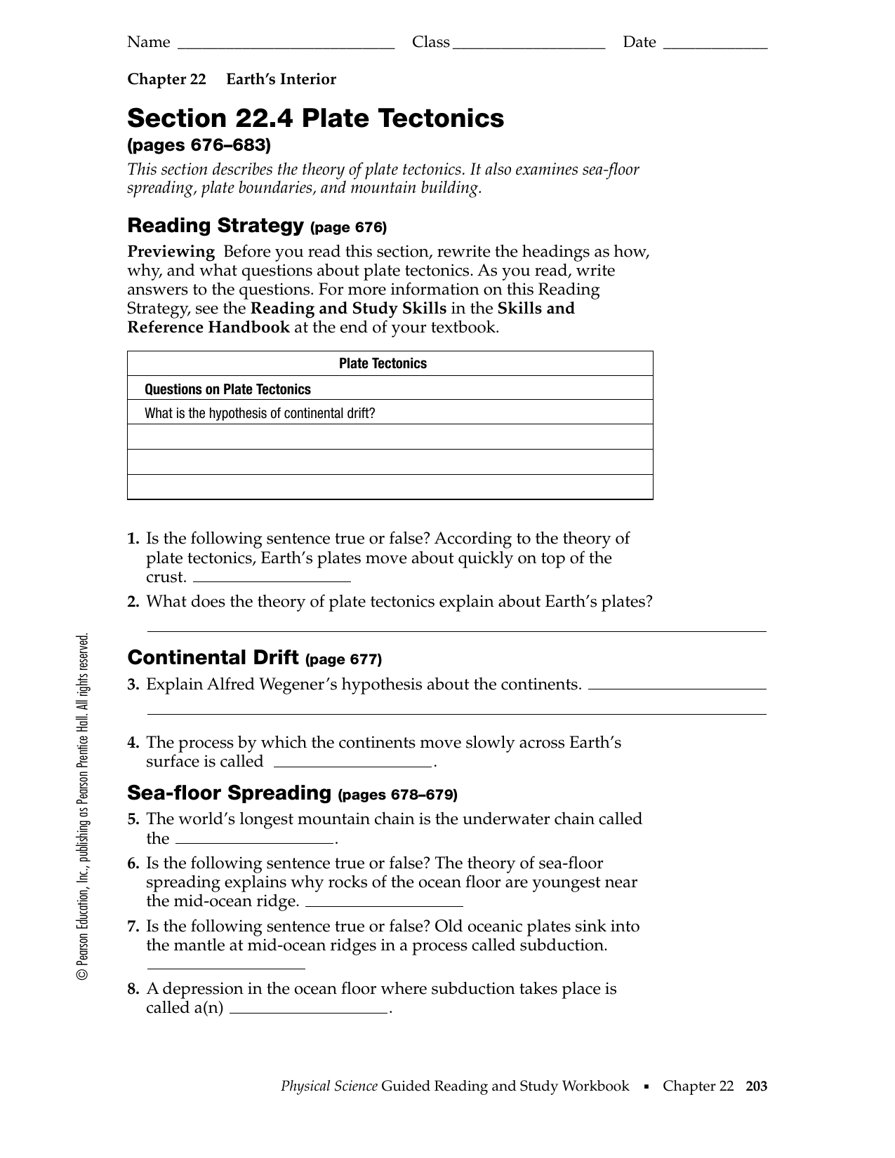 Chapter 22 Earth S Interior Worksheet Answers