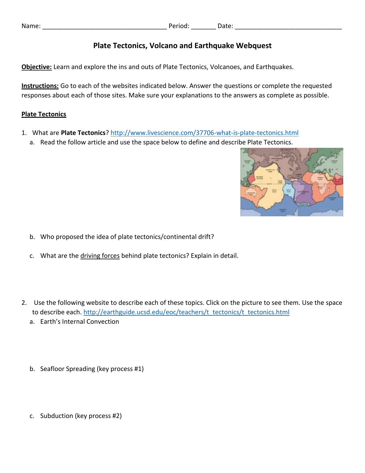 Volcanoes And Plate Tectonics Worksheet Answers