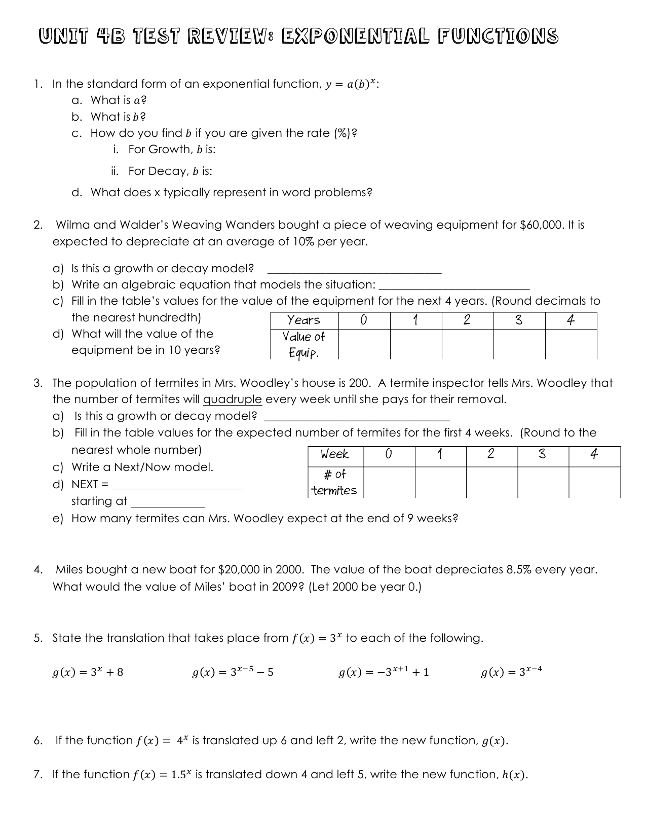 Quiz 7 1 Exponential Functions And Equations Answers