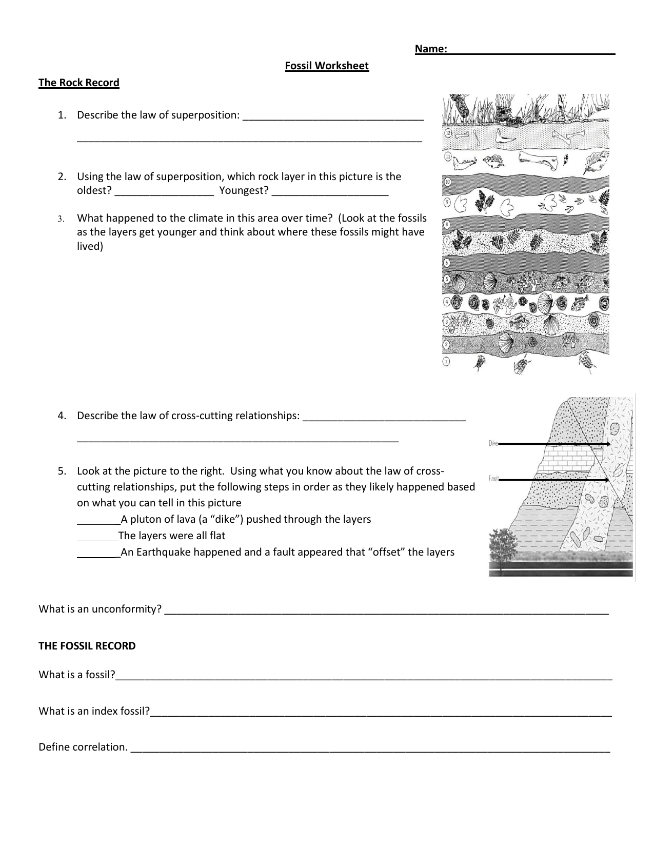 Relative Dating Rock Layers Worksheet