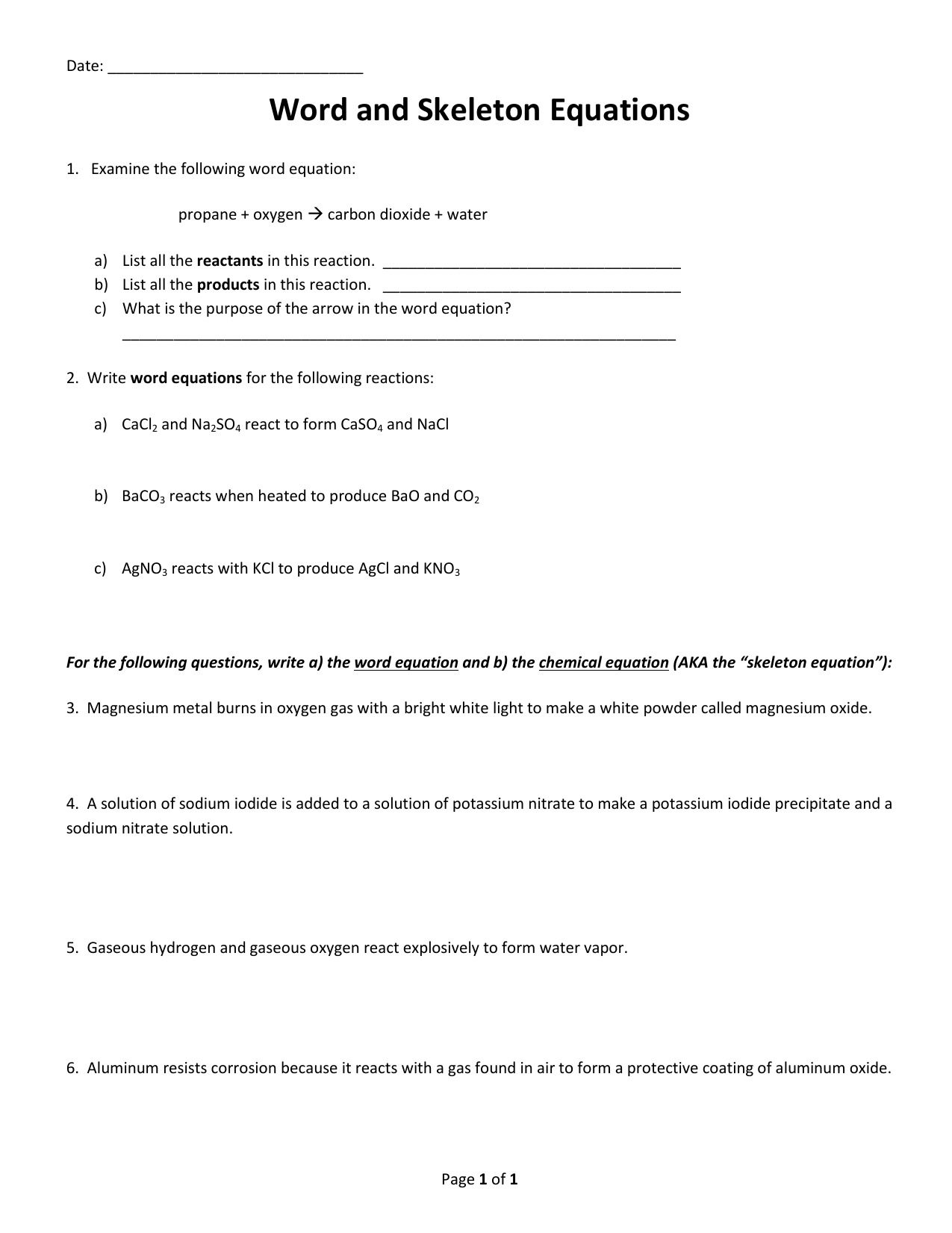 Writing Skeleton Equations From Word Worksheet
