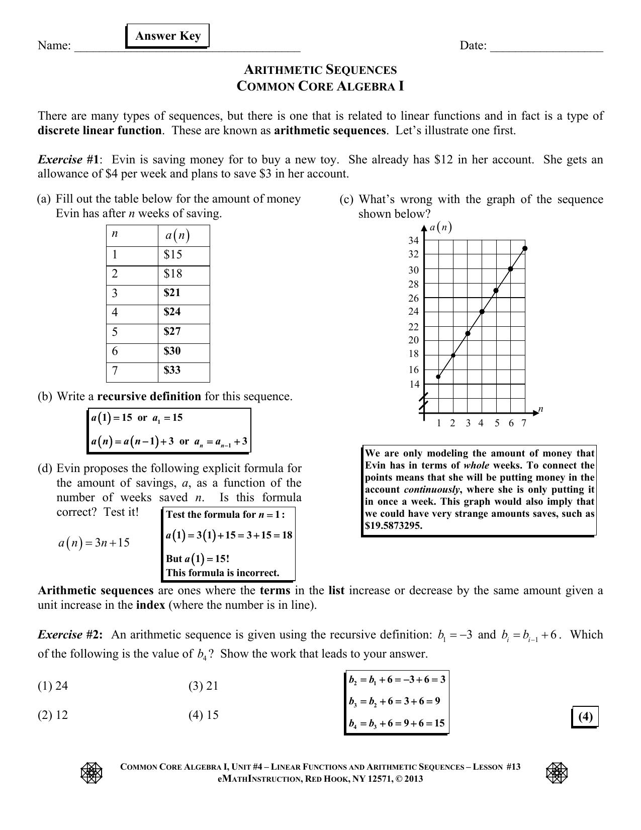 Emathinstruction Common Core Algebra 1 Homework Answers