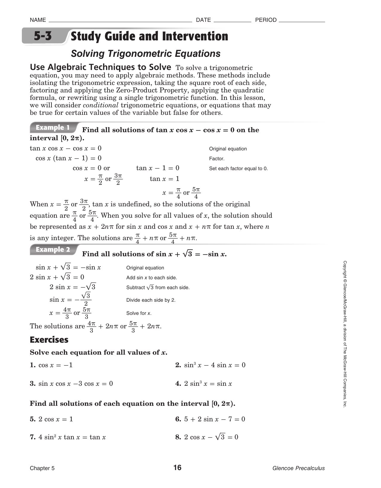 5 3 Solving Trig Equations Answers
