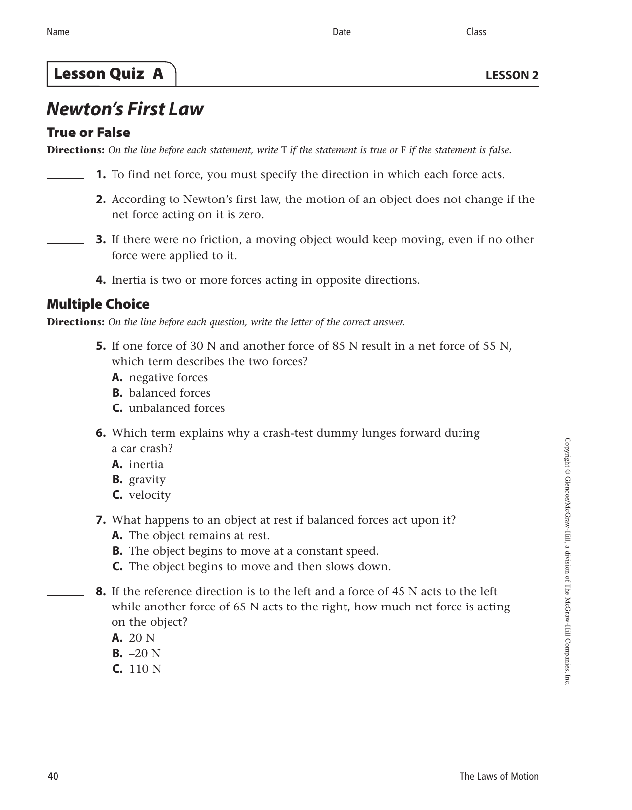 Newton S Second Law Of Motion Lesson 3 Worksheet Answers