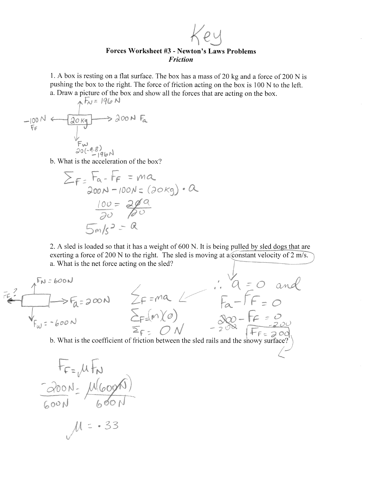 Physics Friction Worksheet Answers