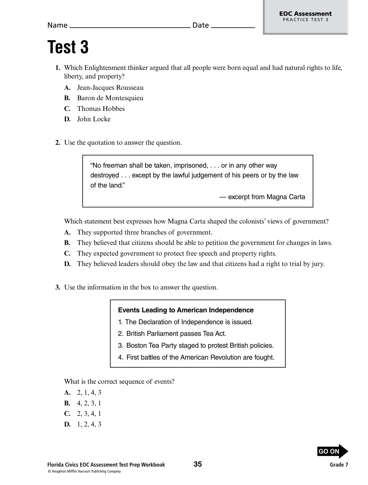 Civics Eoc Practice Test