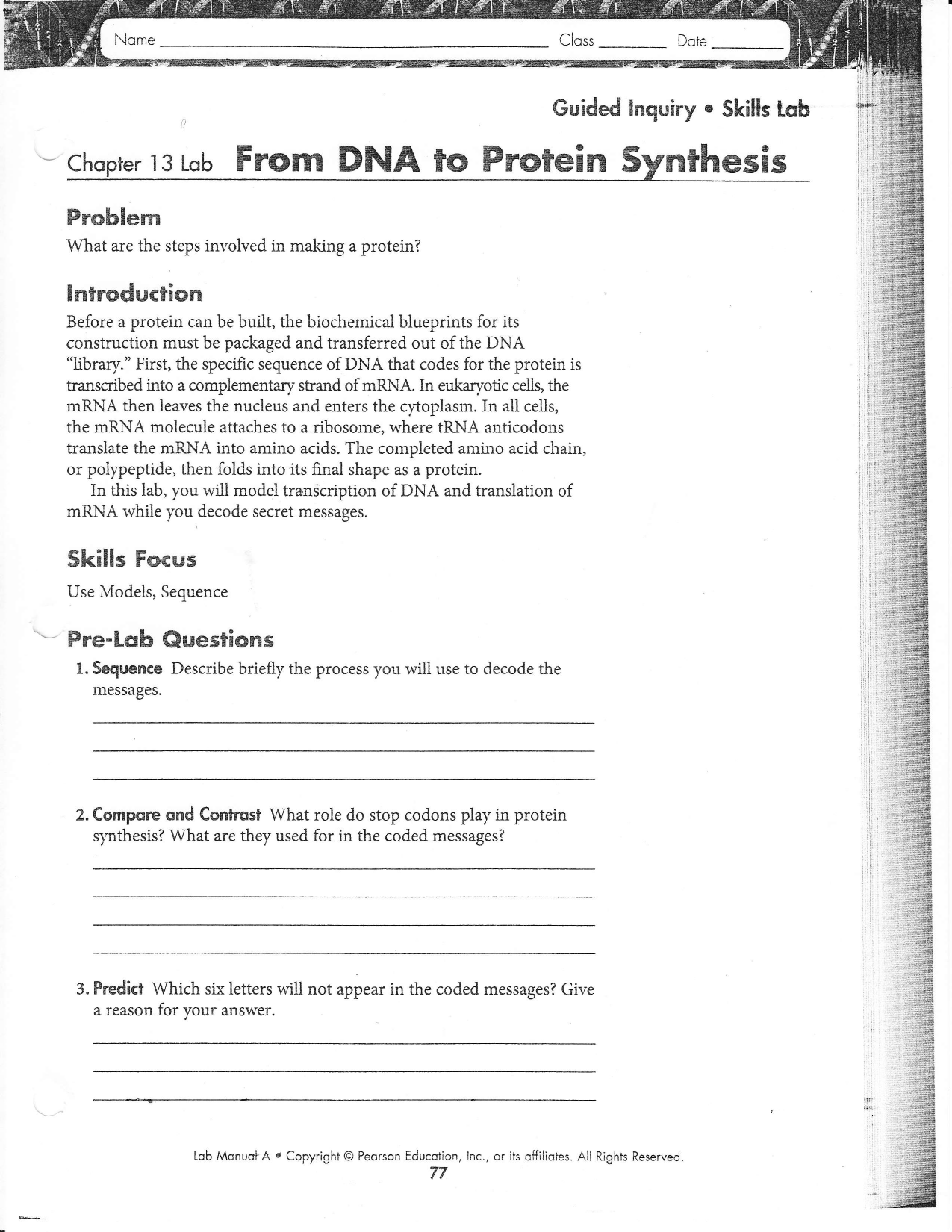 Protein Synthesis Worksheet Answers Part A